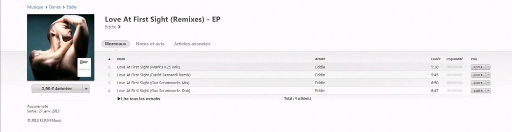 Eddie-Love At First Sight EP Remixes - Original version by Kylie Minogue eddie-bastos-i-tunes